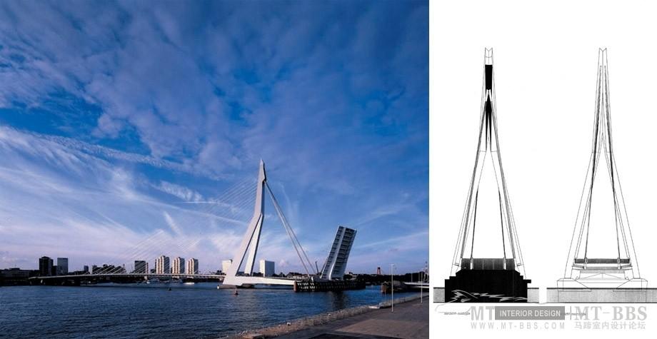 UNStudio (United Network Studio )_Erasmus Bridge, Rotterdam, Netherlands  阿姆斯特丹Erasmus大桥(荷兰,1996)