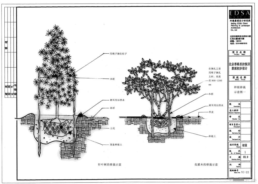 北京香格里拉饭店全套景观设计施工图(0402EDSA)_YC-22种植移栽示意图一.jpg
