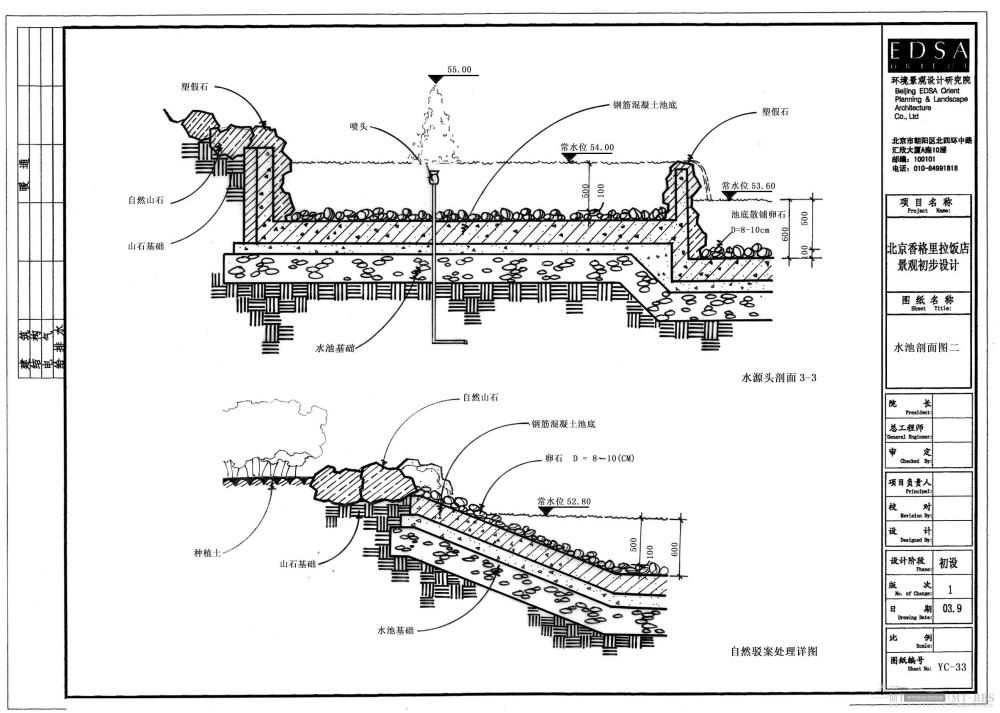北京香格里拉饭店全套景观设计施工图(0402EDSA)_YC-33水池剖面图二.jpg