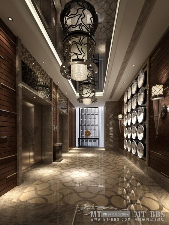 酒店的部分空间效果图(附模型,材质)_电梯间.jpg