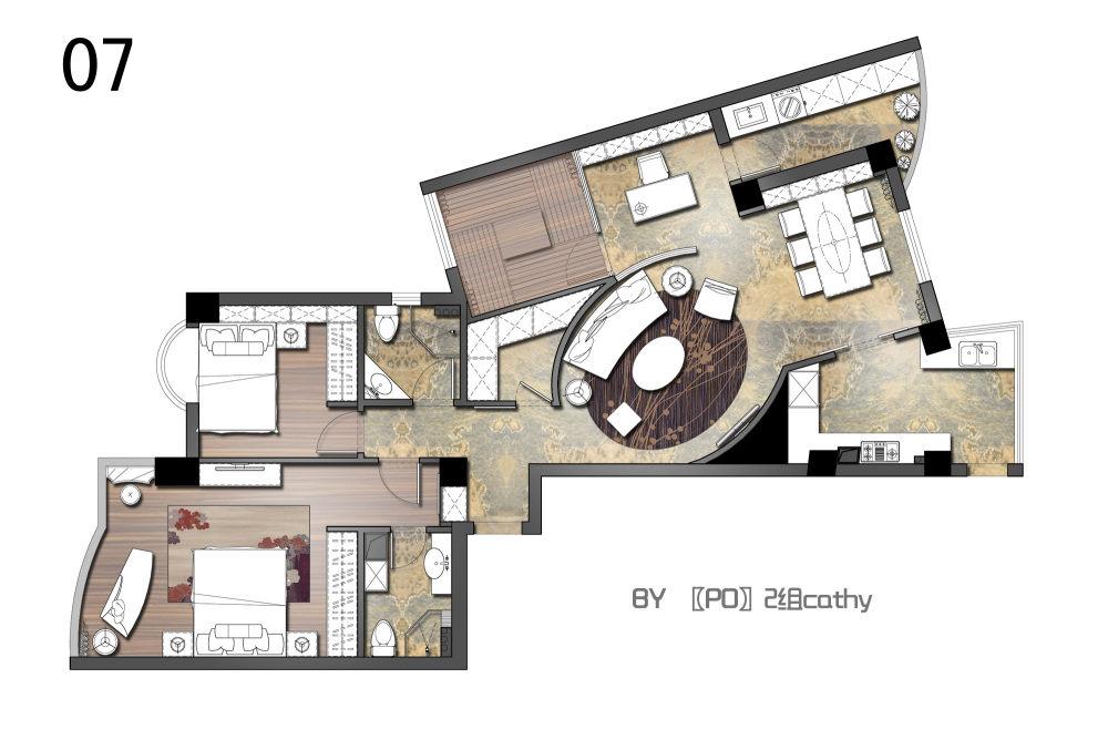 【第一期-住宅平面优化】一个奇异户型13个方案,求投票+点评_07.jpg