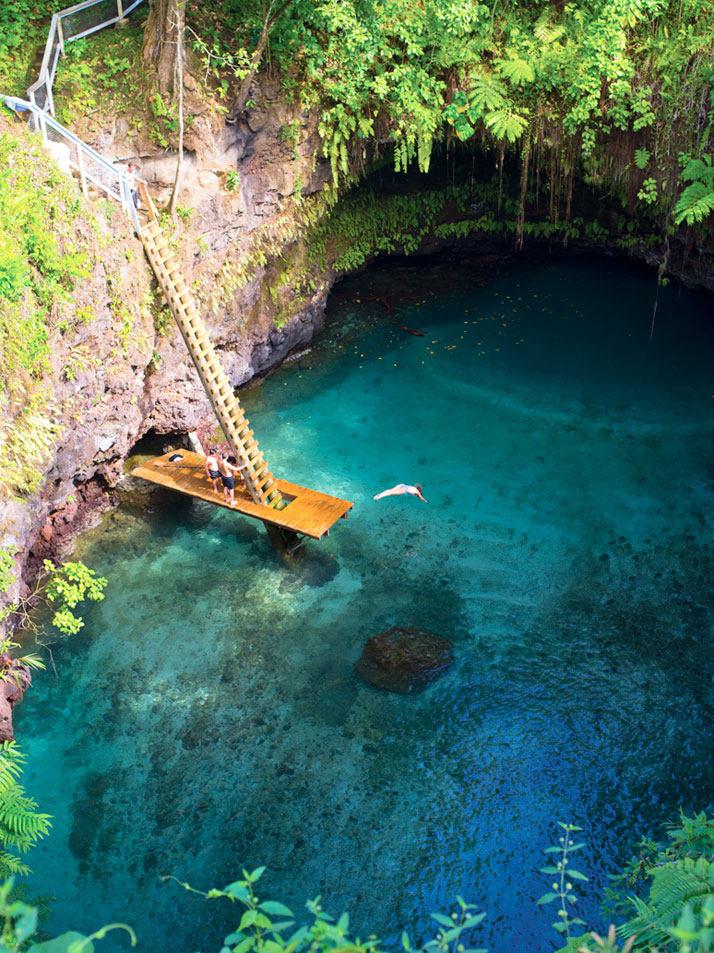 在Lotofaga的海沟,乌波卢岛岛在萨摩亚