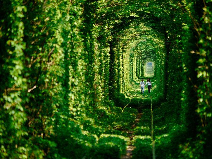 """""""爱的隧道""""镇附近的Klevan在乌克兰"""