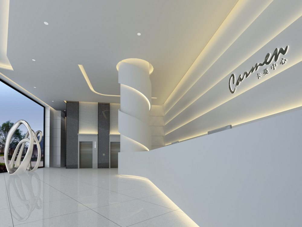 江天伦(JDD经典)—卡蔓中心外立面改造及内部空间设计_一层大堂