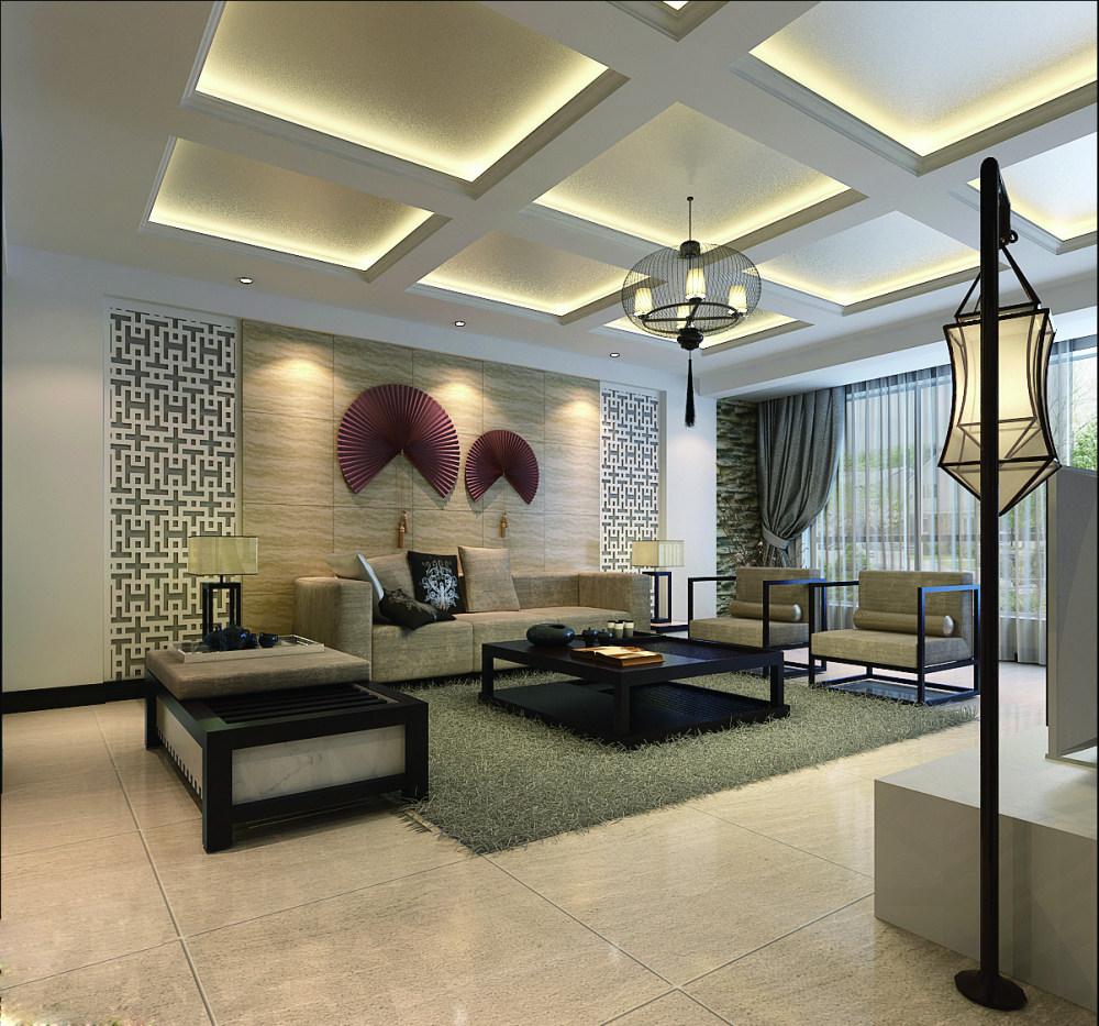【中式 东南亚风格】 家装效果图 飘逸典雅 高清大图_124-2沙发背景墙角度2.jpg