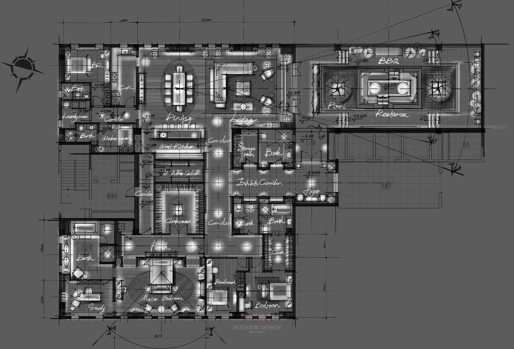 【第八期-住宅平面优化】一个480m²顶层豪宅13个方案 投票奖DB_05.jpg
