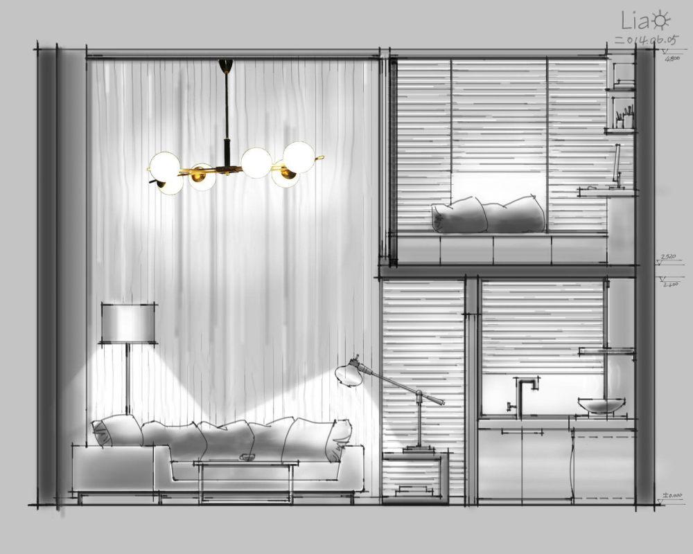 【第九期-住宅平面优化】一个40m²loft户型11个方案 投票奖励DB_02-3.jpg