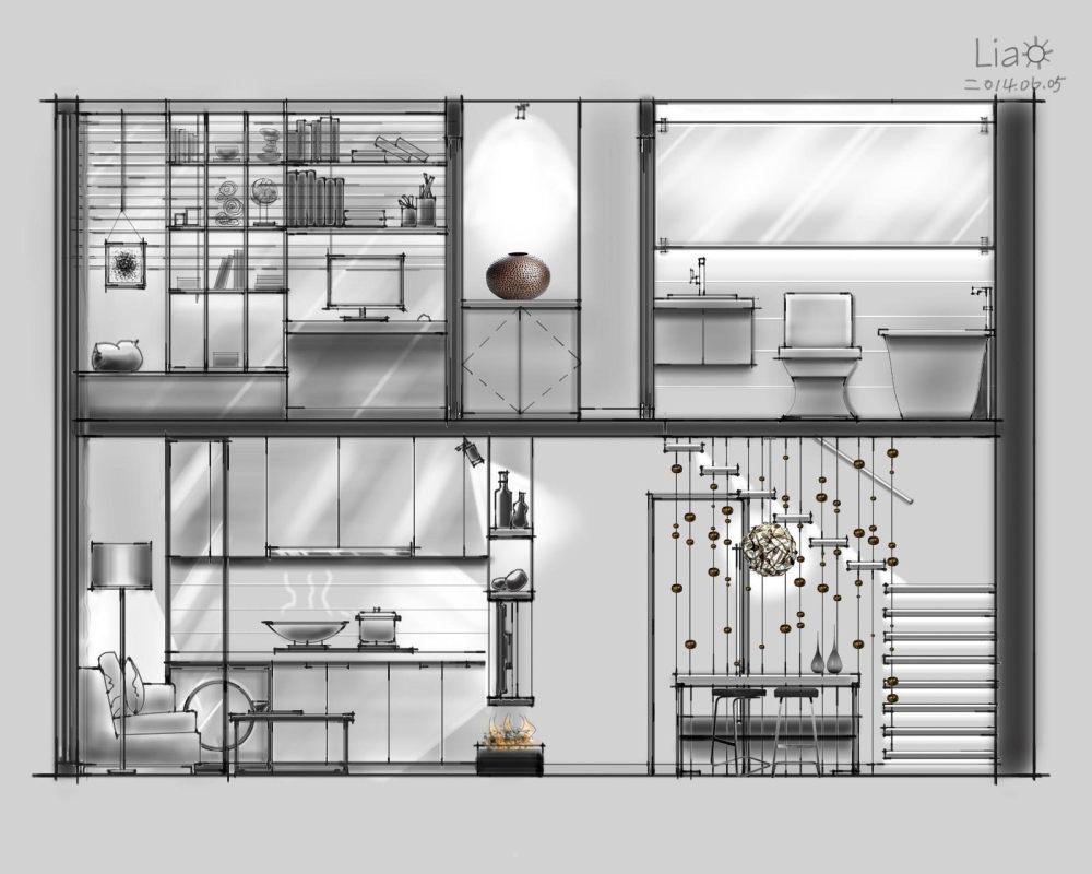 【第九期-住宅平面优化】一个40m²loft户型11个方案 投票奖励DB_02-5.jpg