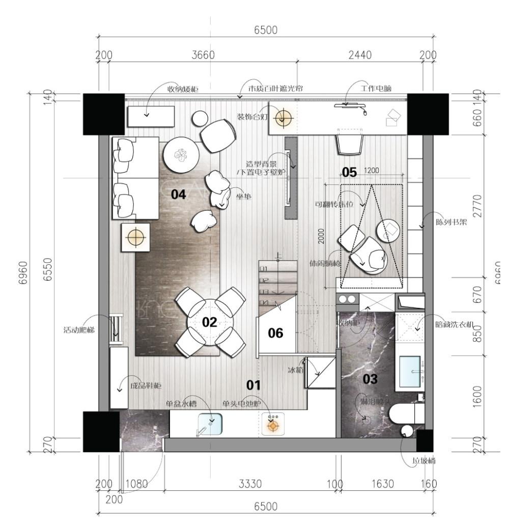 【第九期-住宅平面优化】一个40m²loft户型11个方案 投票奖励DB_07-1.jpg