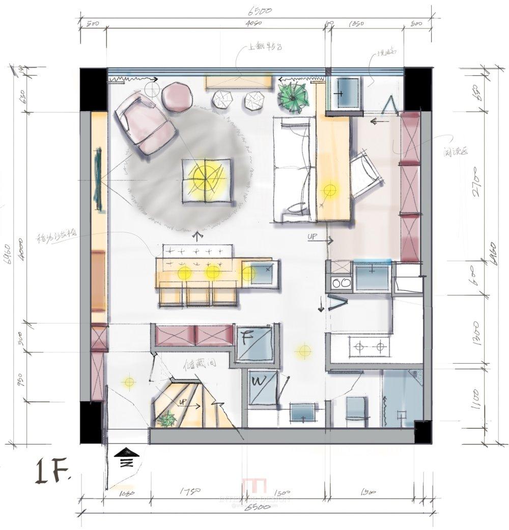 【第九期-住宅平面优化】一个40m²loft户型11个方案 投票奖励DB_08-1.jpg