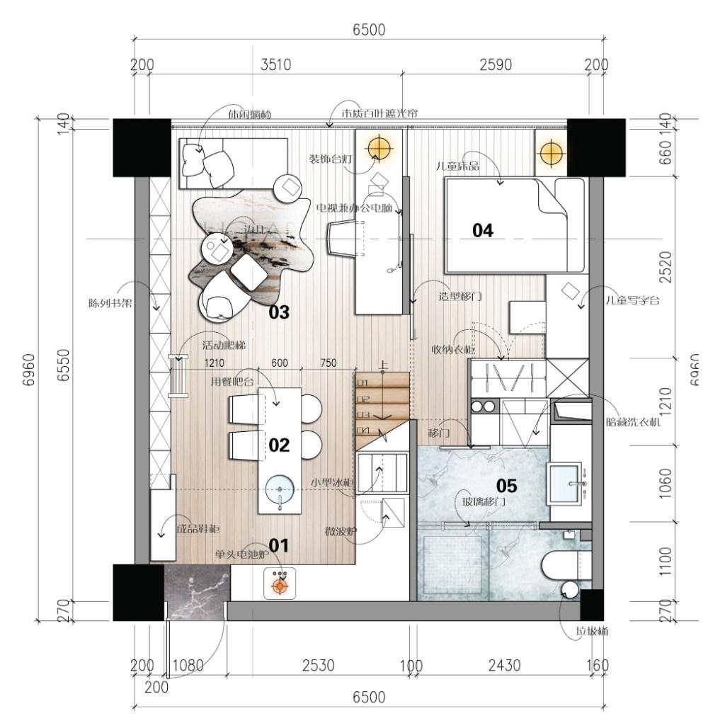 【第九期-住宅平面优化】一个40m²loft户型11个方案 投票奖励DB_09-1.jpg