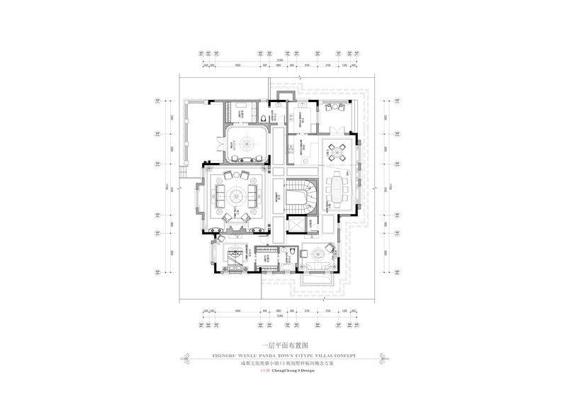 2014最新名师作品!全平面 !超级豪华 法式风格别墅_5一层平面图.jpg