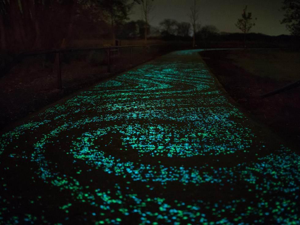 """荷兰建世界首条夜光自行车道 """"梵高星夜""""铺路,_和智能高速公路一样,这条星空小道使用了一种发光材料,白天充电,晚上发光 ..."""