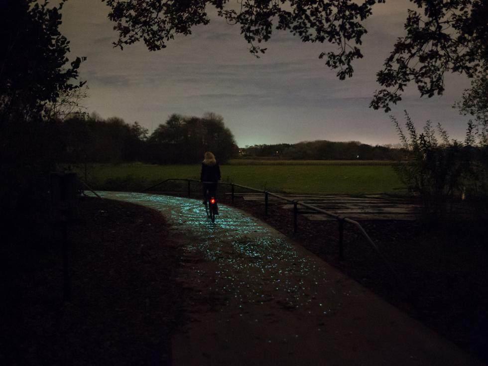 """荷兰建世界首条夜光自行车道 """"梵高星夜""""铺路,_丹-罗斯格德还有更大的目标,就是让这些涂料变得尽可能动态、智能,他举例称,周一的时候这是一条自行车道 ..."""