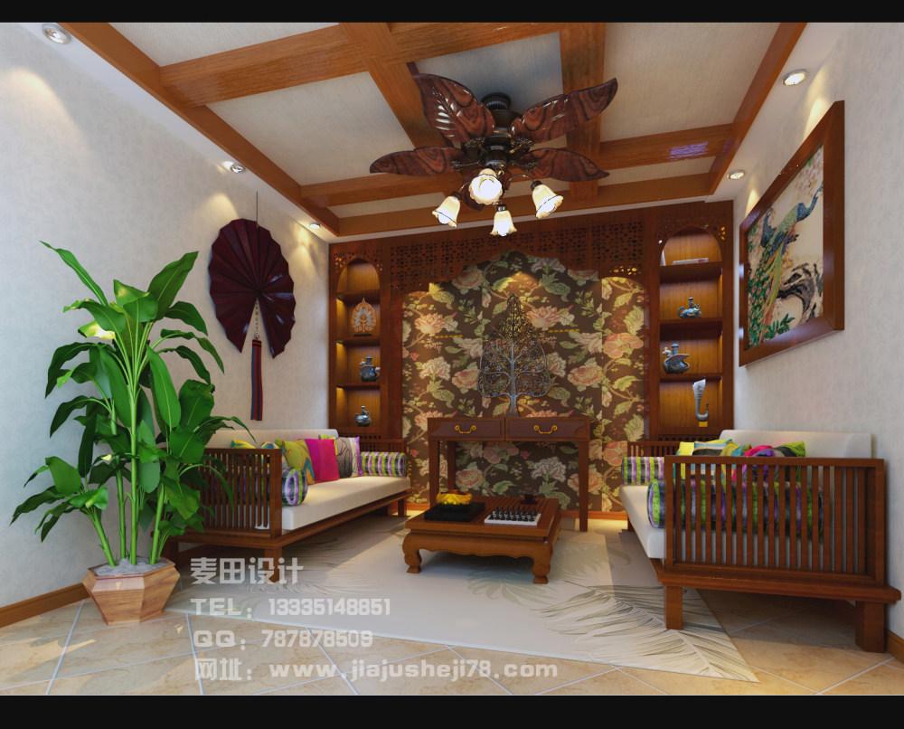 麦田空间设计--东南亚风格别墅效果图_2楼会客厅.jpg
