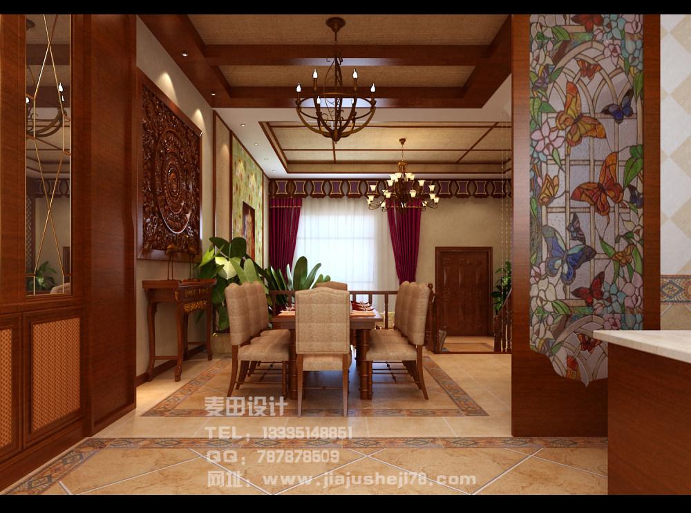 麦田空间设计--东南亚风格别墅效果图_餐厅2.jpg