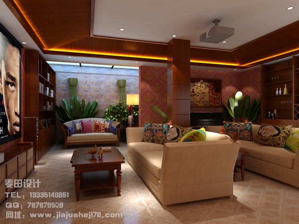 麦田空间设计--东南亚风格别墅效果图_负一层1.jpg