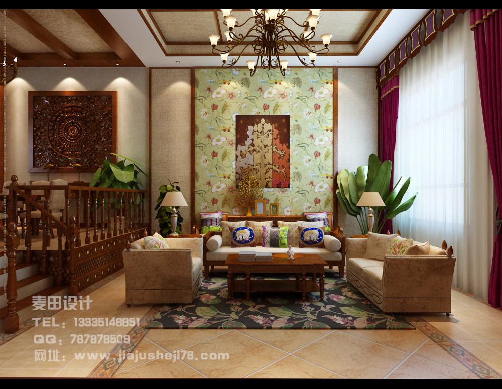 麦田空间设计--东南亚风格别墅效果图_客厅1.jpg