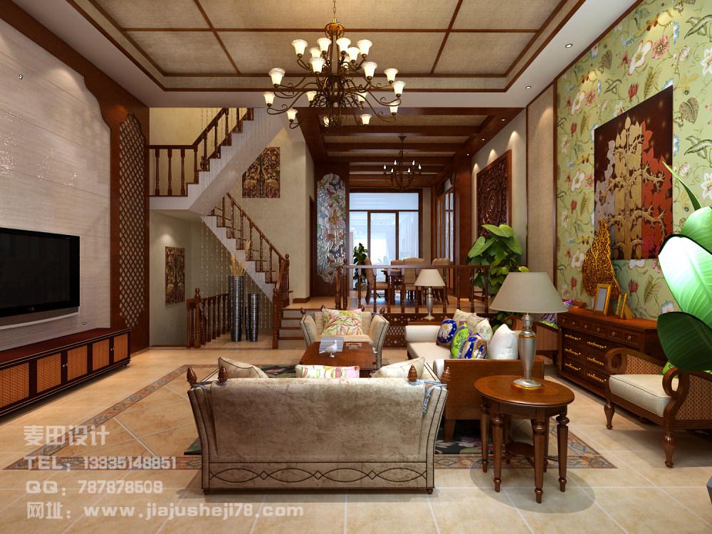 麦田空间设计--东南亚风格别墅效果图_客厅3.jpg