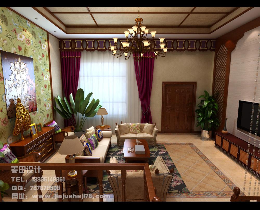 麦田空间设计--东南亚风格别墅效果图_客厅4.jpg