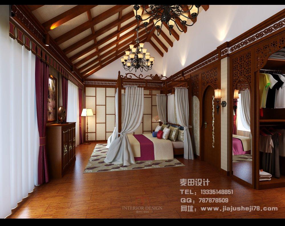 麦田空间设计--东南亚风格别墅效果图_主卧室3.jpg