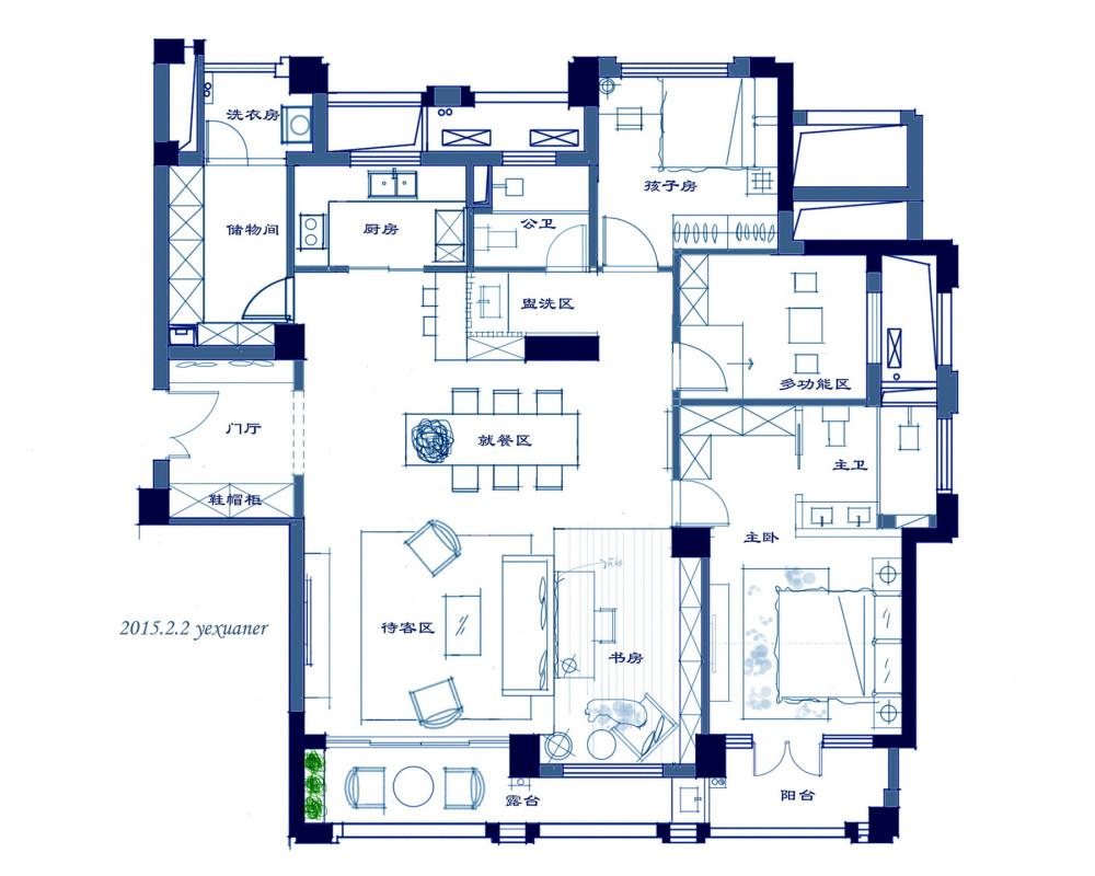 【第15期-住宅平面优化】一个150m²平层16组方案 投票奖励DB_【16】.jpg