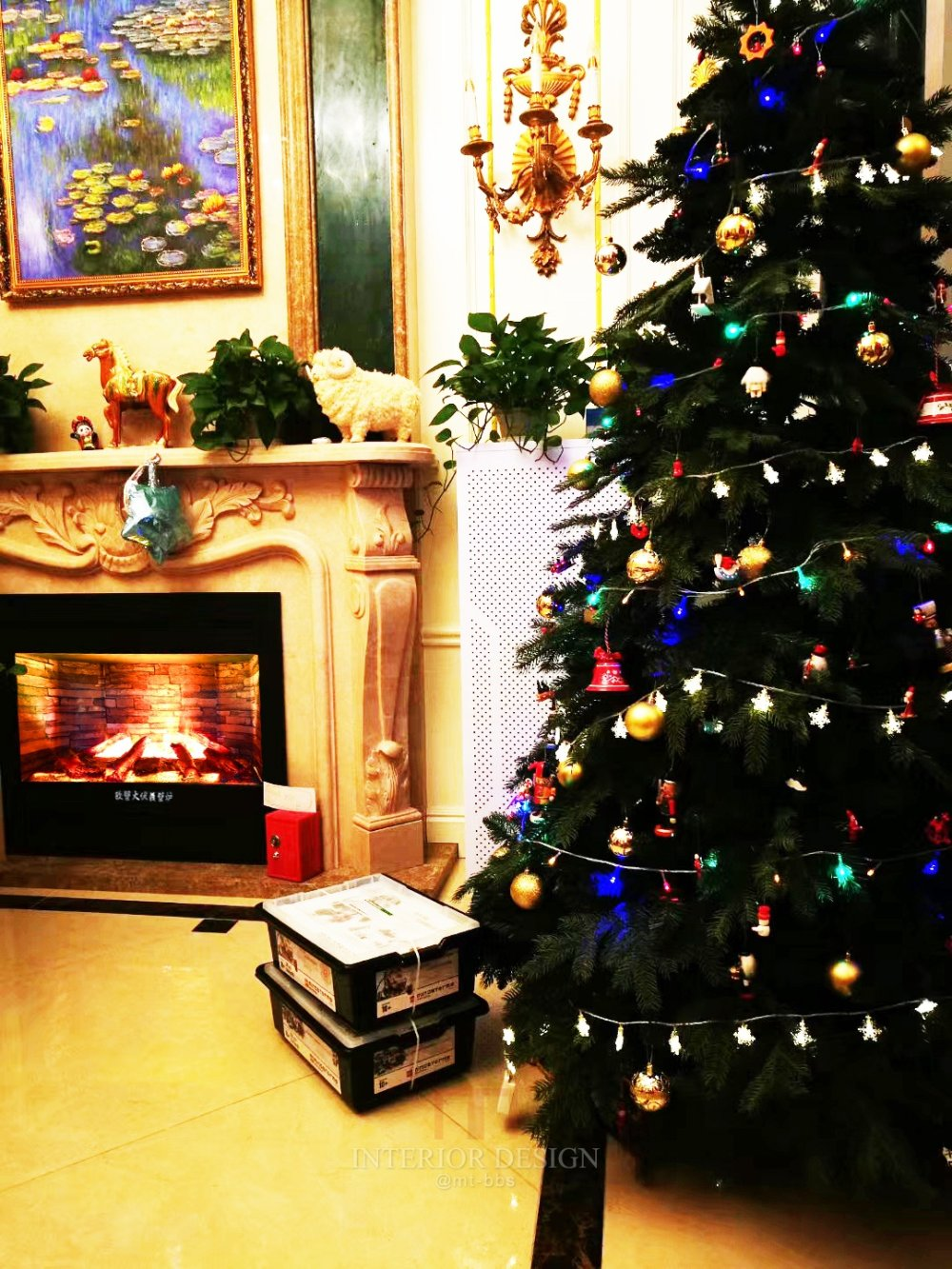 圣诞节家庭伏羲壁炉