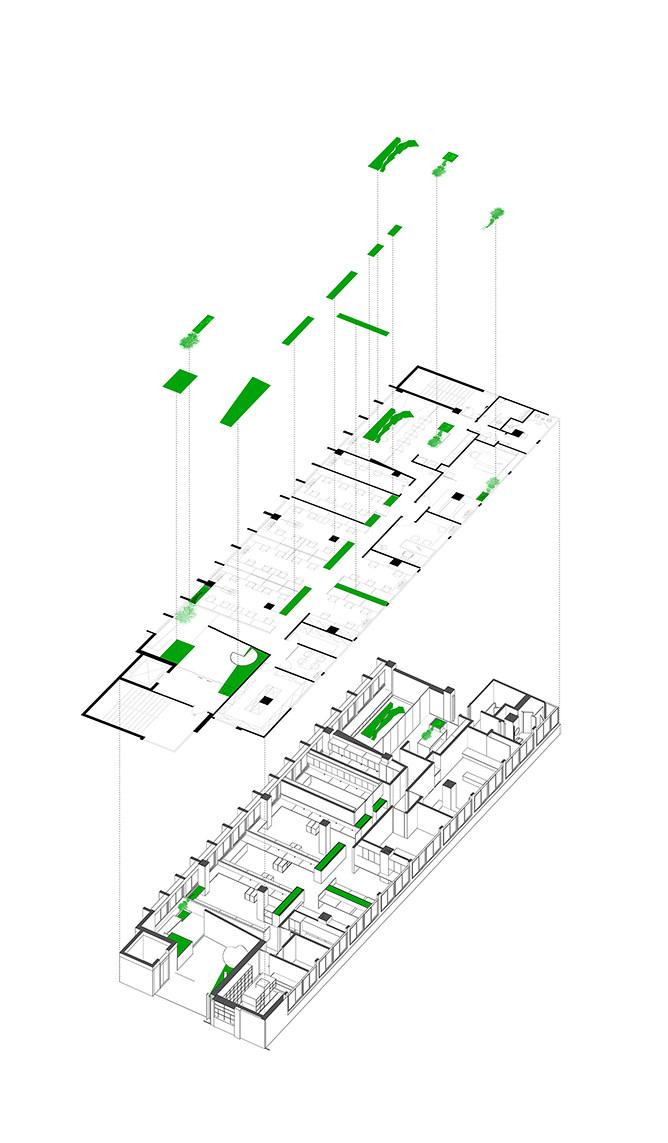 9 办公室现址立体平面图  绿色块代表绿色景观布置位.jpg