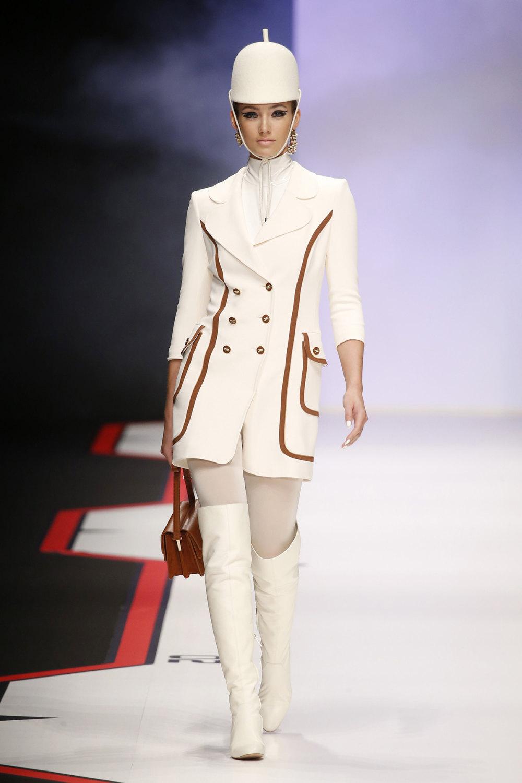 Elisabetta Franchi时装系列简约時尚的蓝色外套衬有印花迷你裙-1.jpg