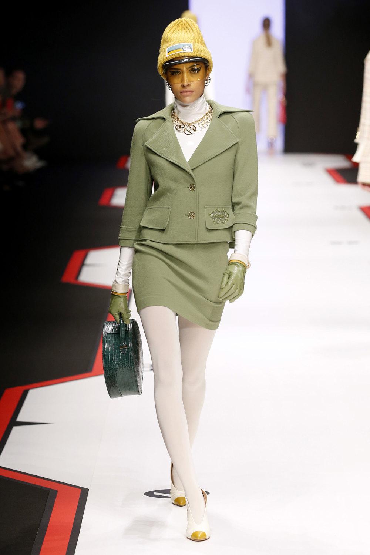 Elisabetta Franchi时装系列简约時尚的蓝色外套衬有印花迷你裙-7.jpg