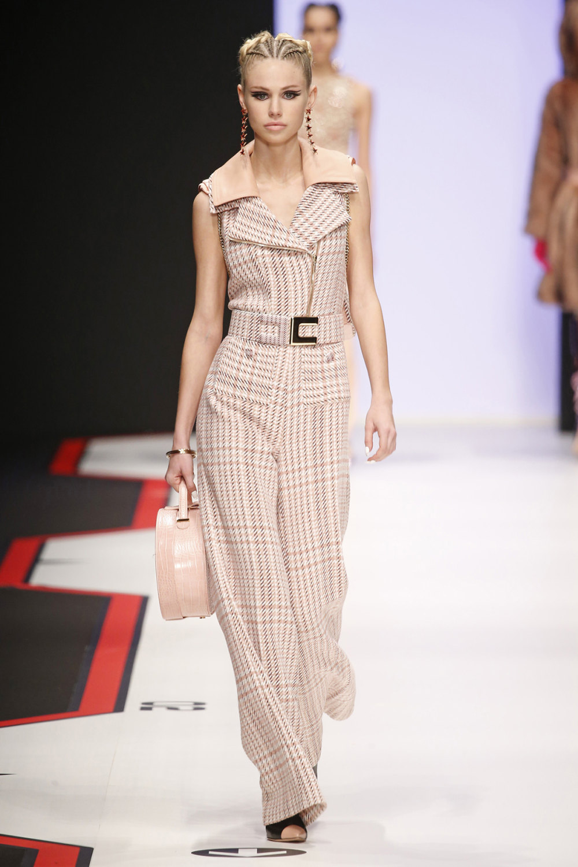 Elisabetta Franchi时装系列简约時尚的蓝色外套衬有印花迷你裙-15.jpg