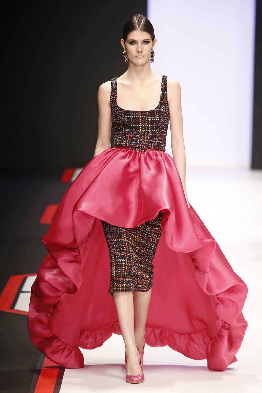 Elisabetta Franchi时装系列简约時尚的蓝色外套衬有印花迷你裙-35.jpg