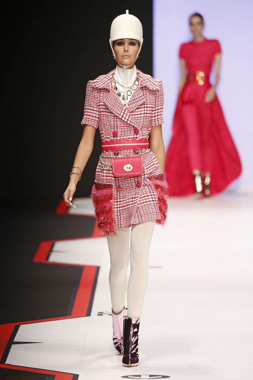 Elisabetta Franchi时装系列简约時尚的蓝色外套衬有印花迷你裙-56.jpg