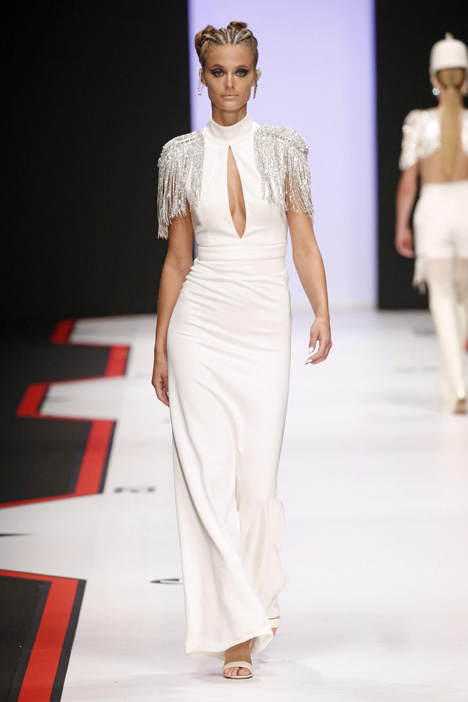 Elisabetta Franchi时装系列简约時尚的蓝色外套衬有印花迷你裙-63.jpg