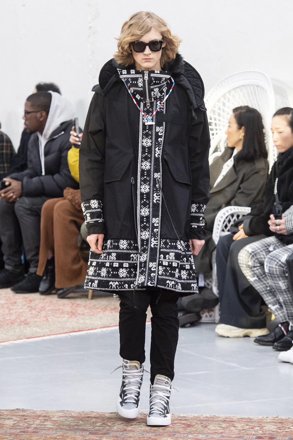 Sacai时装系列超大号黑色圆领毛衣和长款绿色北欧毛衣连衣裙-27.jpg
