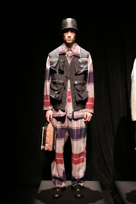 Noma时装系列法兰绒裤子和大胆的格子衬衫搭配男士黑色钓鱼背心-1.jpg