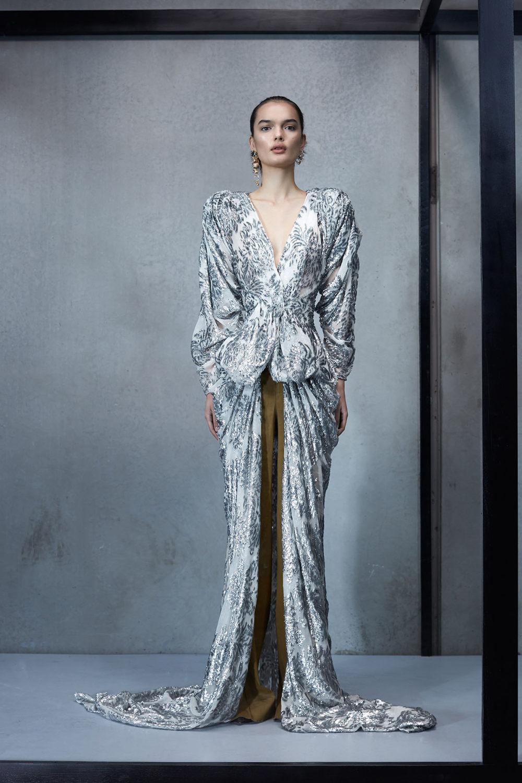 Maticevski时装系列无袖地板长度荷叶边紫红色礼服或棕色连衣裙-2.jpg