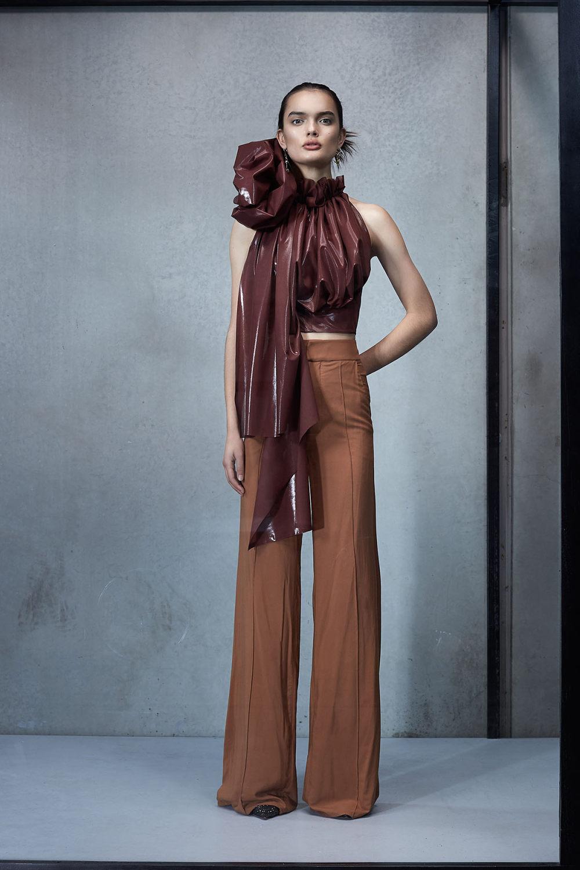 Maticevski时装系列无袖地板长度荷叶边紫红色礼服或棕色连衣裙-7.jpg