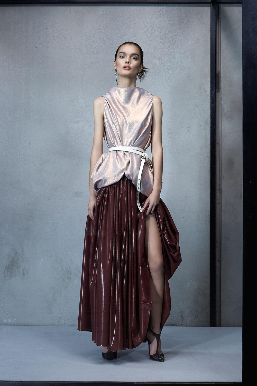 Maticevski时装系列无袖地板长度荷叶边紫红色礼服或棕色连衣裙-9.jpg