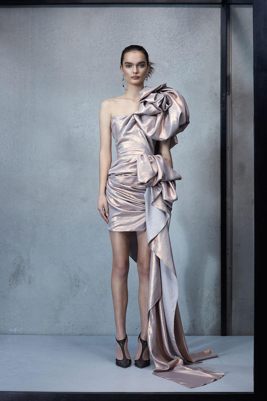 Maticevski时装系列无袖地板长度荷叶边紫红色礼服或棕色连衣裙-10.jpg