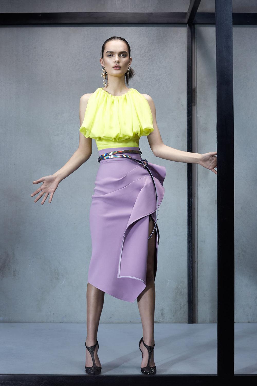 Maticevski时装系列无袖地板长度荷叶边紫红色礼服或棕色连衣裙-22.jpg
