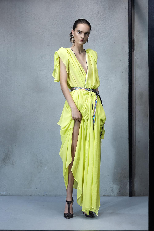 Maticevski时装系列无袖地板长度荷叶边紫红色礼服或棕色连衣裙-23.jpg