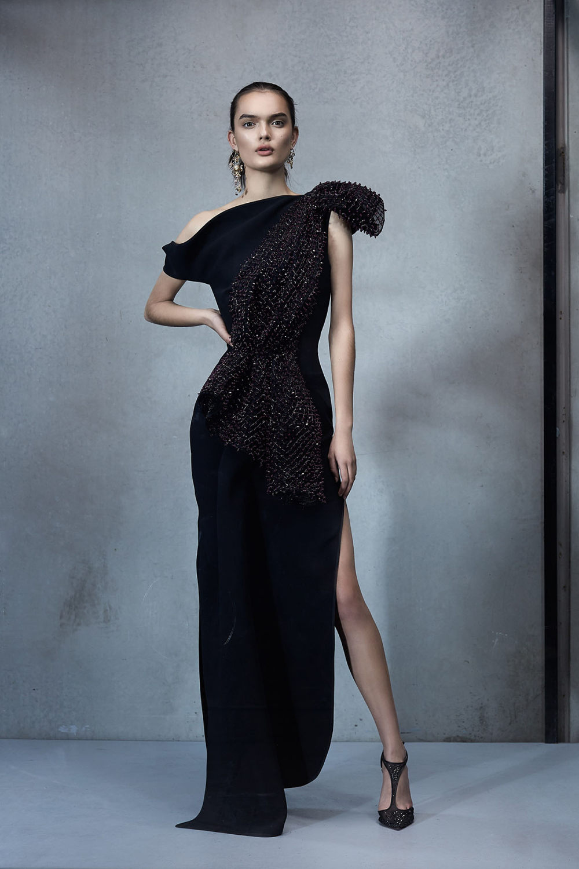 Maticevski时装系列无袖地板长度荷叶边紫红色礼服或棕色连衣裙-29.jpg