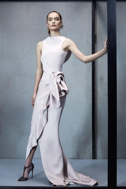 Maticevski时装系列无袖地板长度荷叶边紫红色礼服或棕色连衣裙-31.jpg