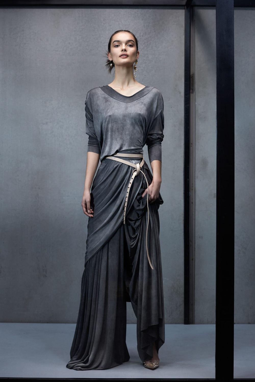 Maticevski时装系列无袖地板长度荷叶边紫红色礼服或棕色连衣裙-37.jpg