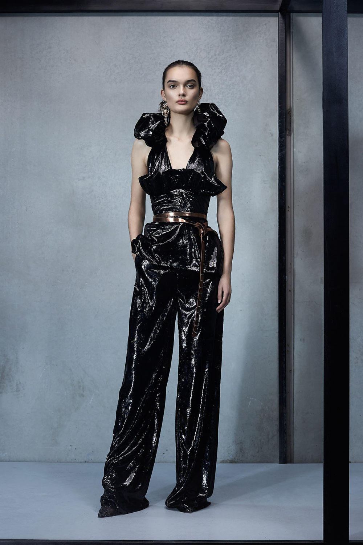 Maticevski时装系列无袖地板长度荷叶边紫红色礼服或棕色连衣裙-44.jpg