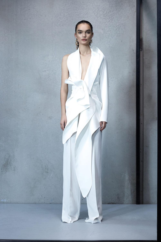 Maticevski时装系列无袖地板长度荷叶边紫红色礼服或棕色连衣裙-47.jpg