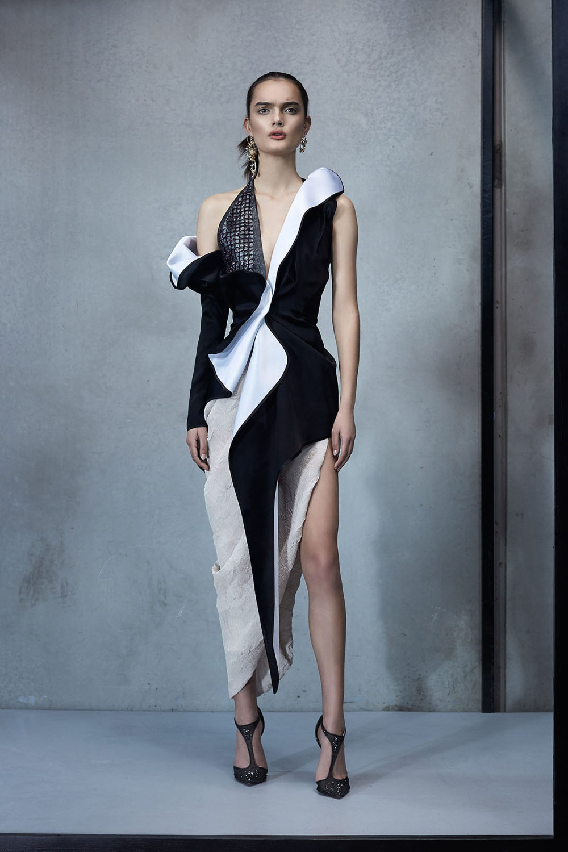 Maticevski时装系列无袖地板长度荷叶边紫红色礼服或棕色连衣裙-49.jpg
