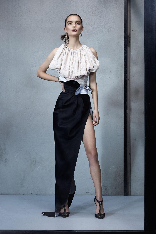 Maticevski时装系列无袖地板长度荷叶边紫红色礼服或棕色连衣裙-51.jpg