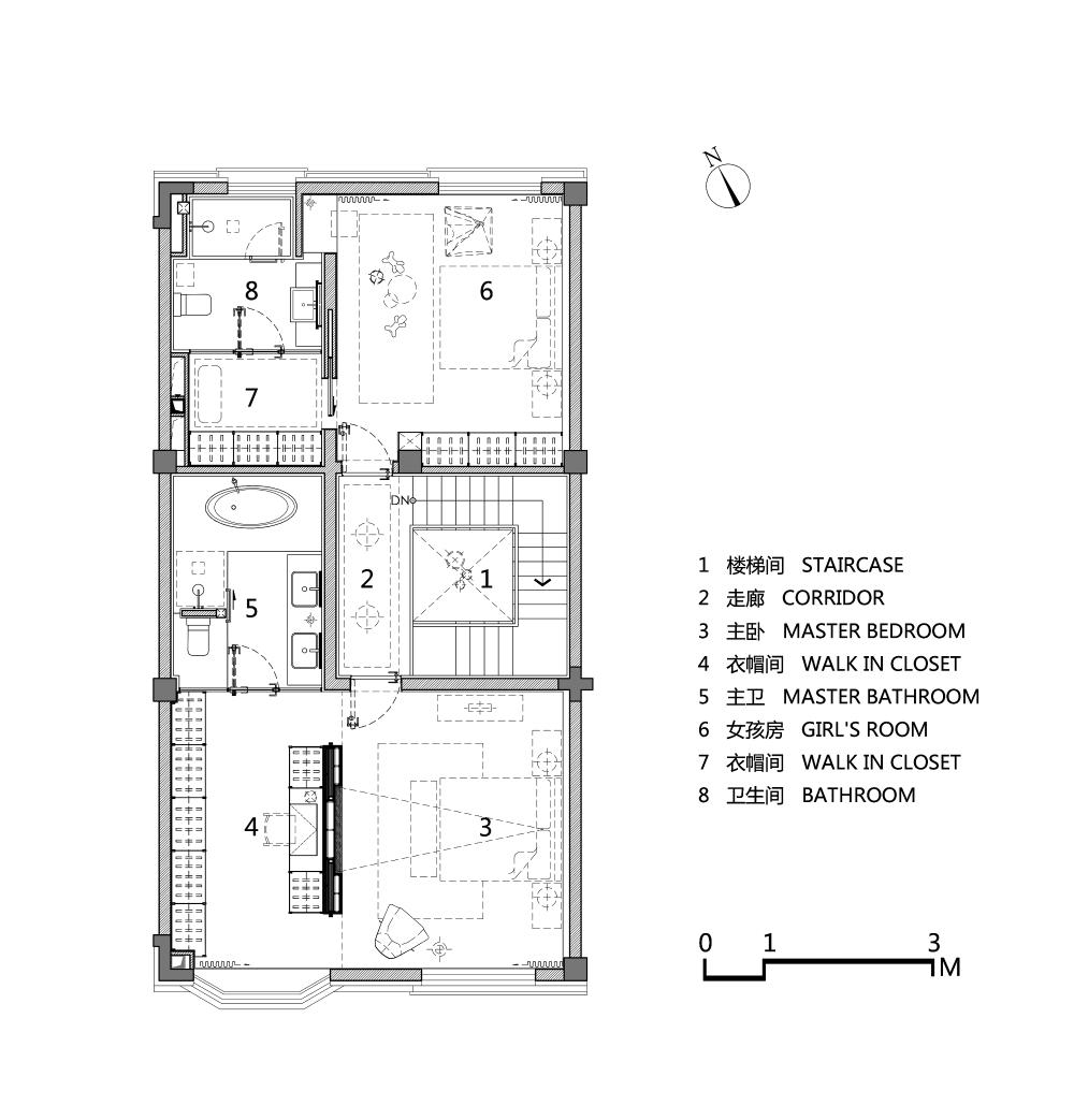 天津招商贝肯山橡实园别墅样板间平面图3F.png